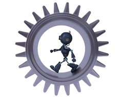 robot in cog wheel